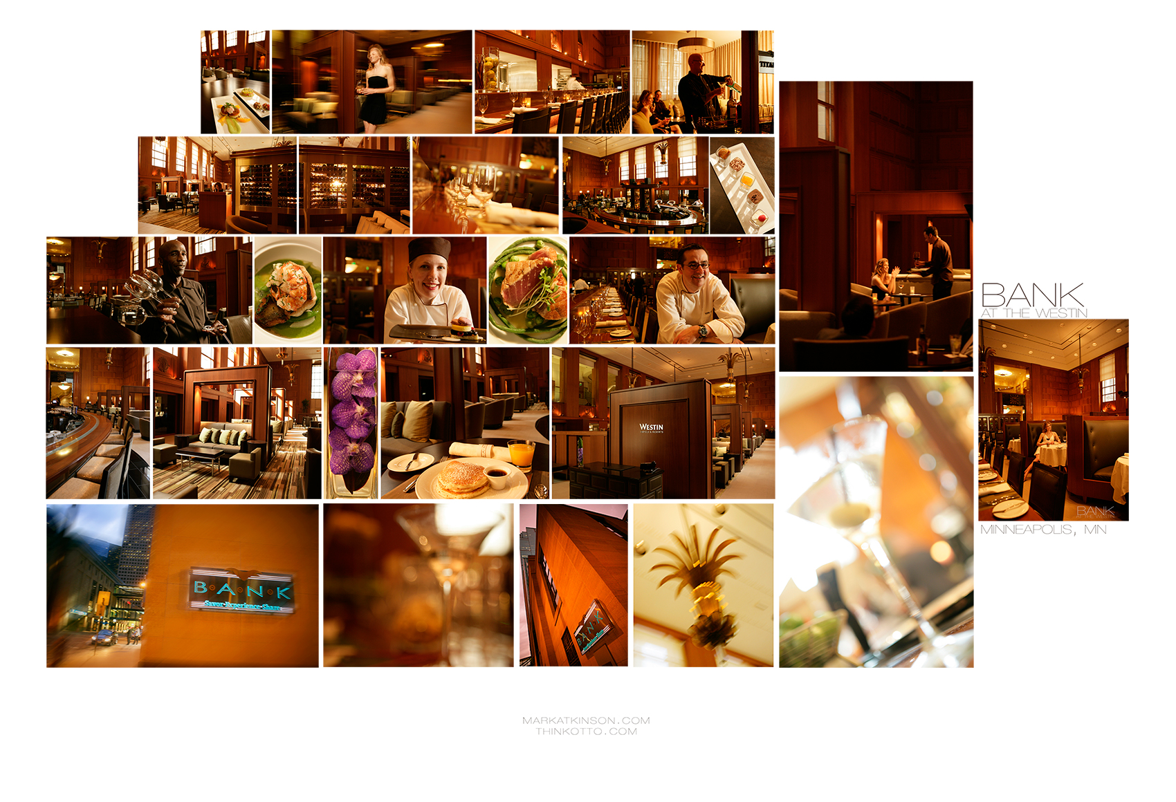 Hotel and resort photography (above, the BANK at the WESTIN, Minneapolis)
