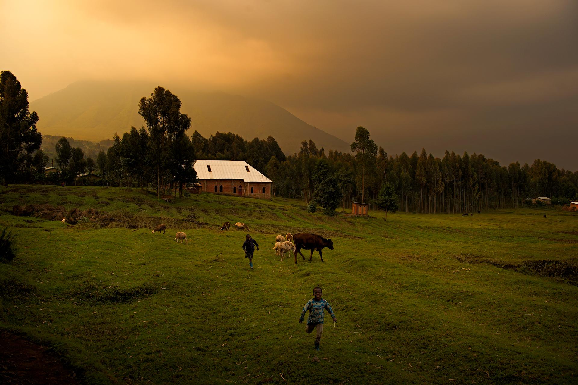 Boys running, Rwanda