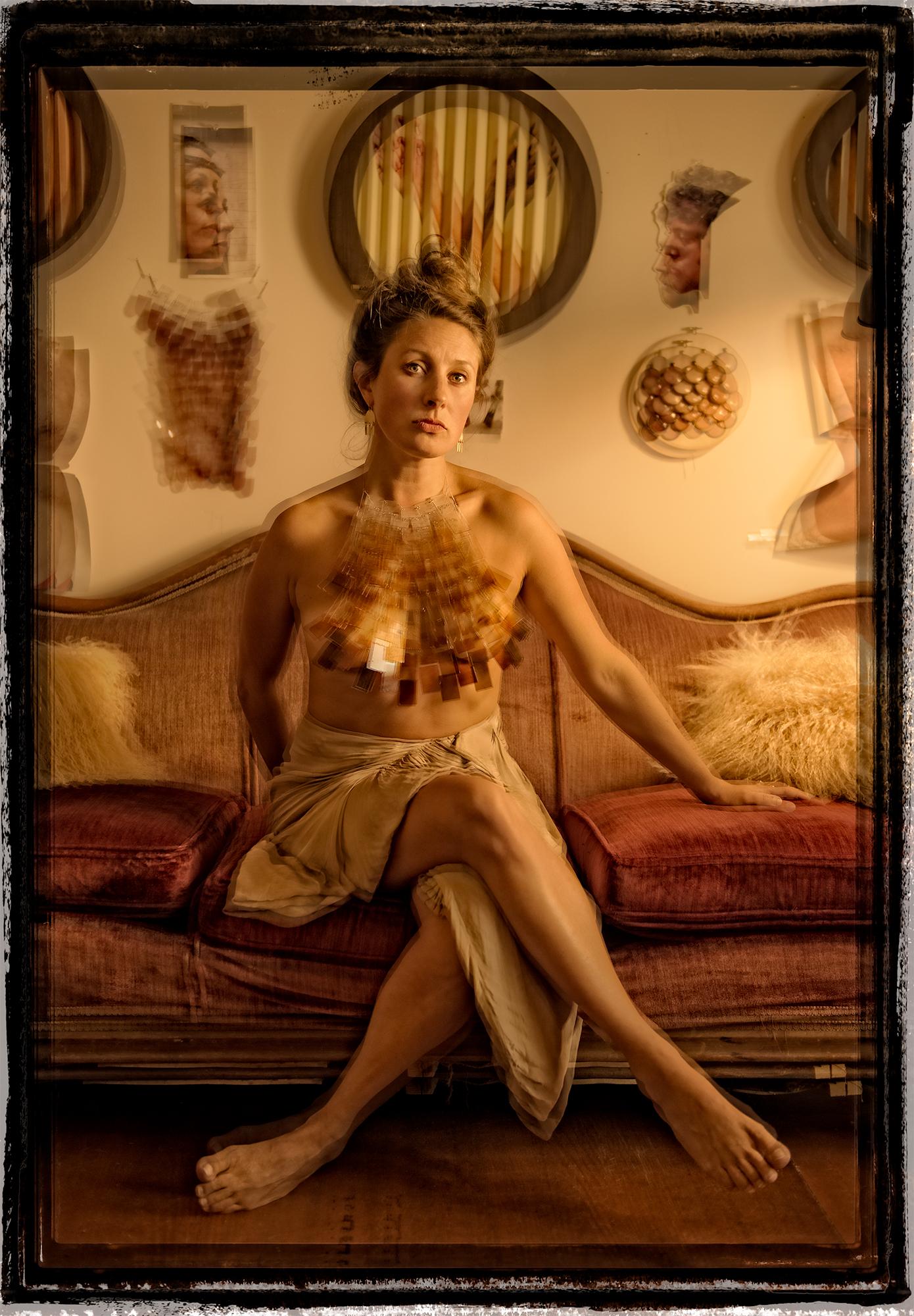glass artist Charlotte Potter in her studio at Glass Wheel