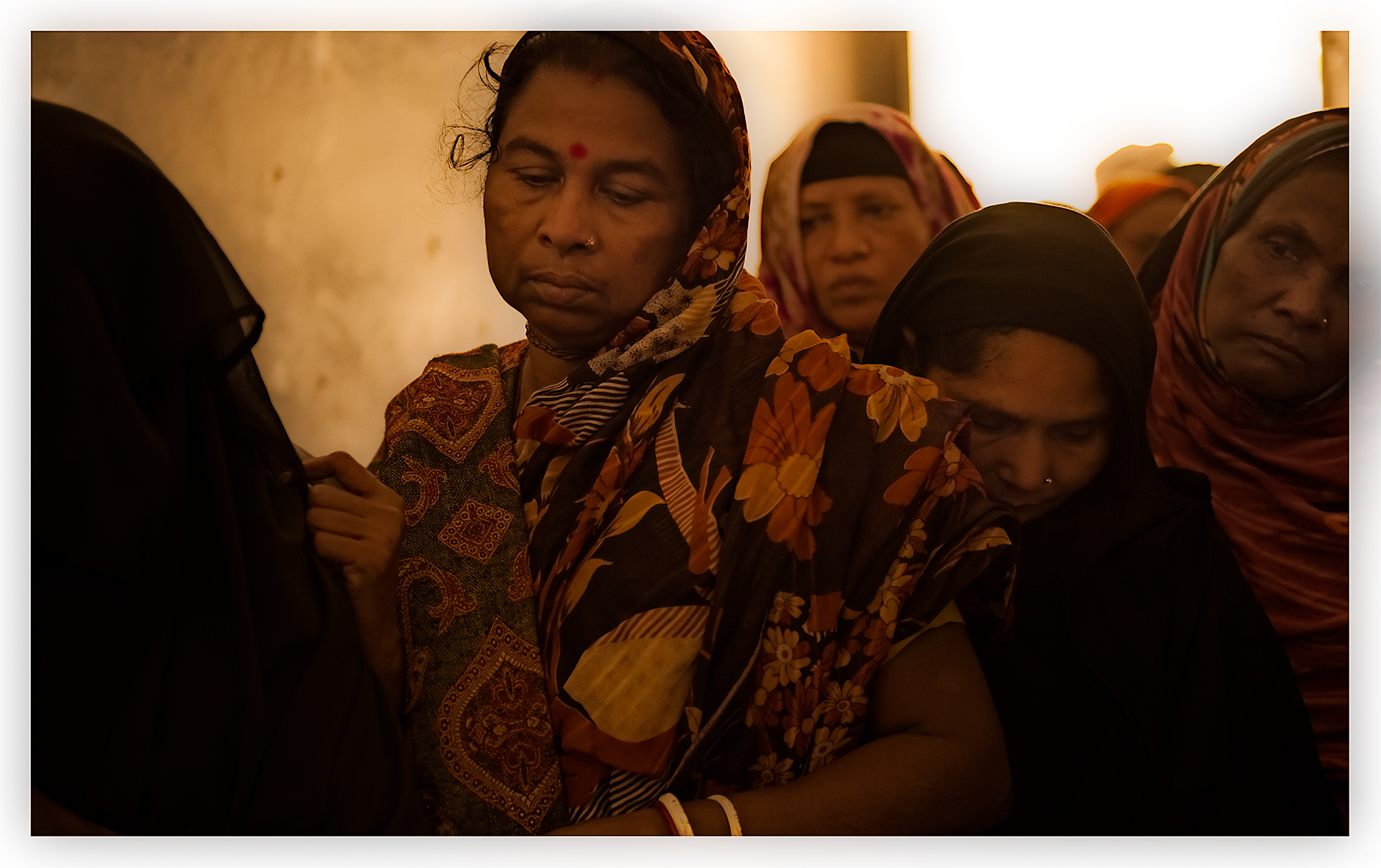 Women with cataracts, waiting. Bangladesh