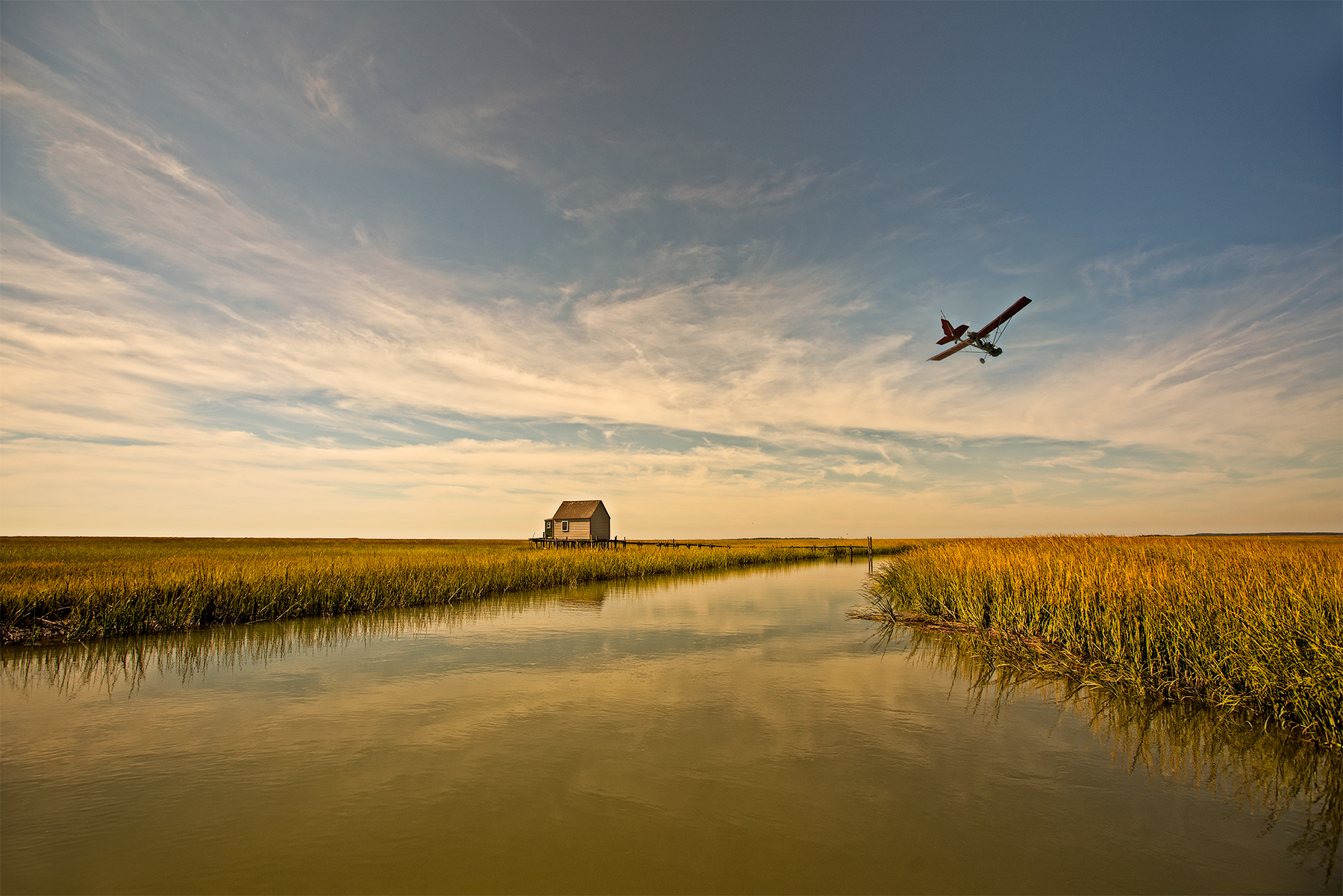 Gordon flying, the Eastern Shore, Va