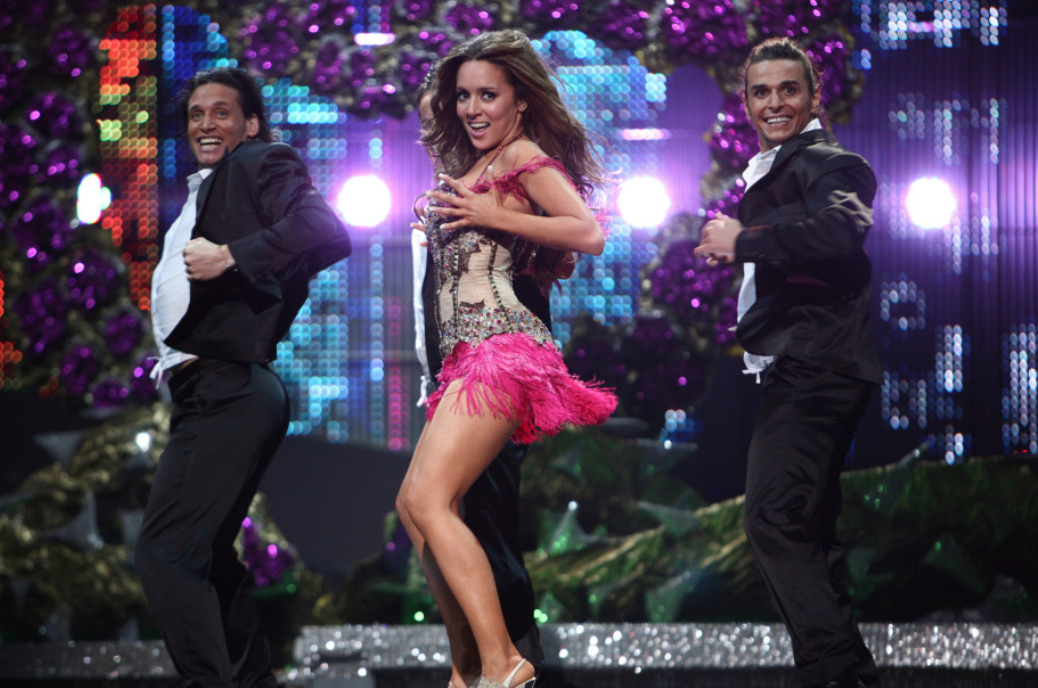 Kalomira with her dancers performing at the 2008 Eurovision Song Contest in Belgrade.
