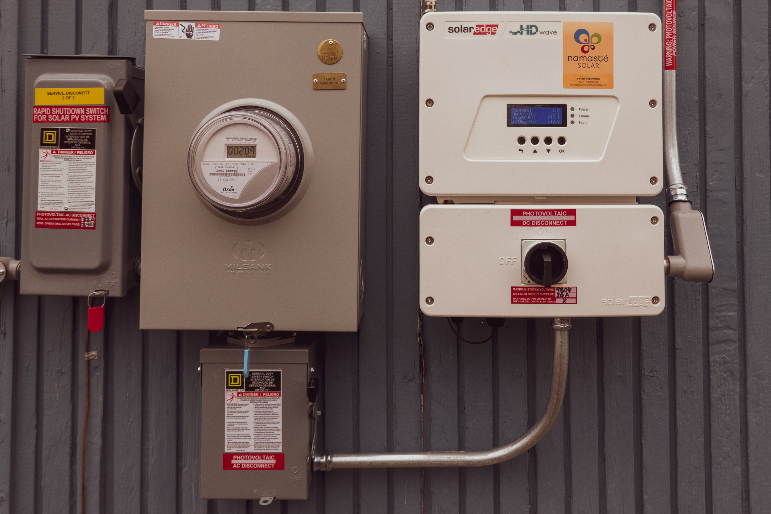 Shutoff, Net Meter, and the Inverter will all be added adjacent to your regular meter.