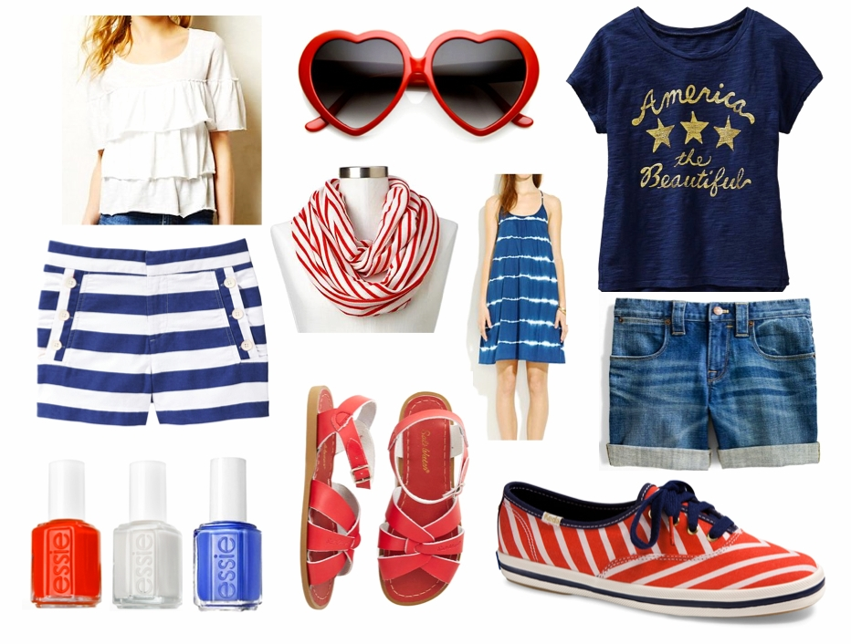 white ruffle tee / blue & white striped shorts / essie clambake / essie marshmallow / essie butler please / red sunnies / red & white scarf / blue ombre dress /  red saltwater sandals / america tee / denim shorts / red & blue kate spade keds