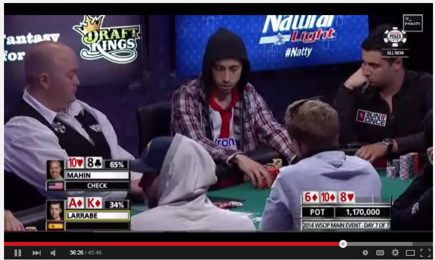 the flush hit, I believe ... larrabe would go on to make a big mistake at the final table going unnecessarily all-in with KQ suited