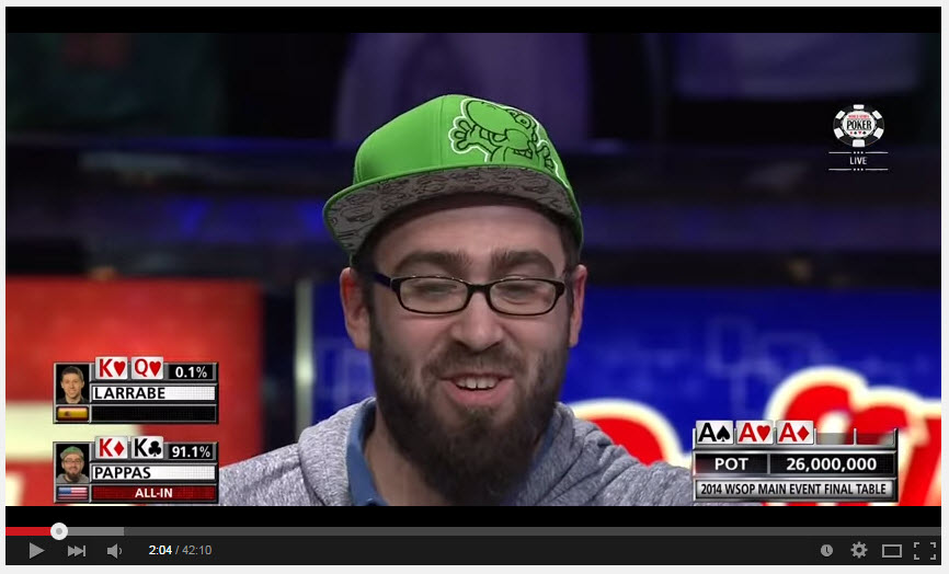 larrabe all-in here, justified? I think not.  Amateur poker face here from Pappas (lovable guy)