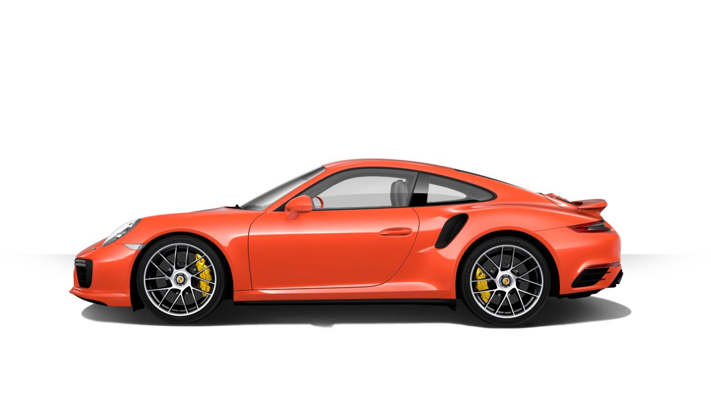 "In Lava Orange with 20"" 911 Turbo S wheels. 580 horsepower. From $188,100."