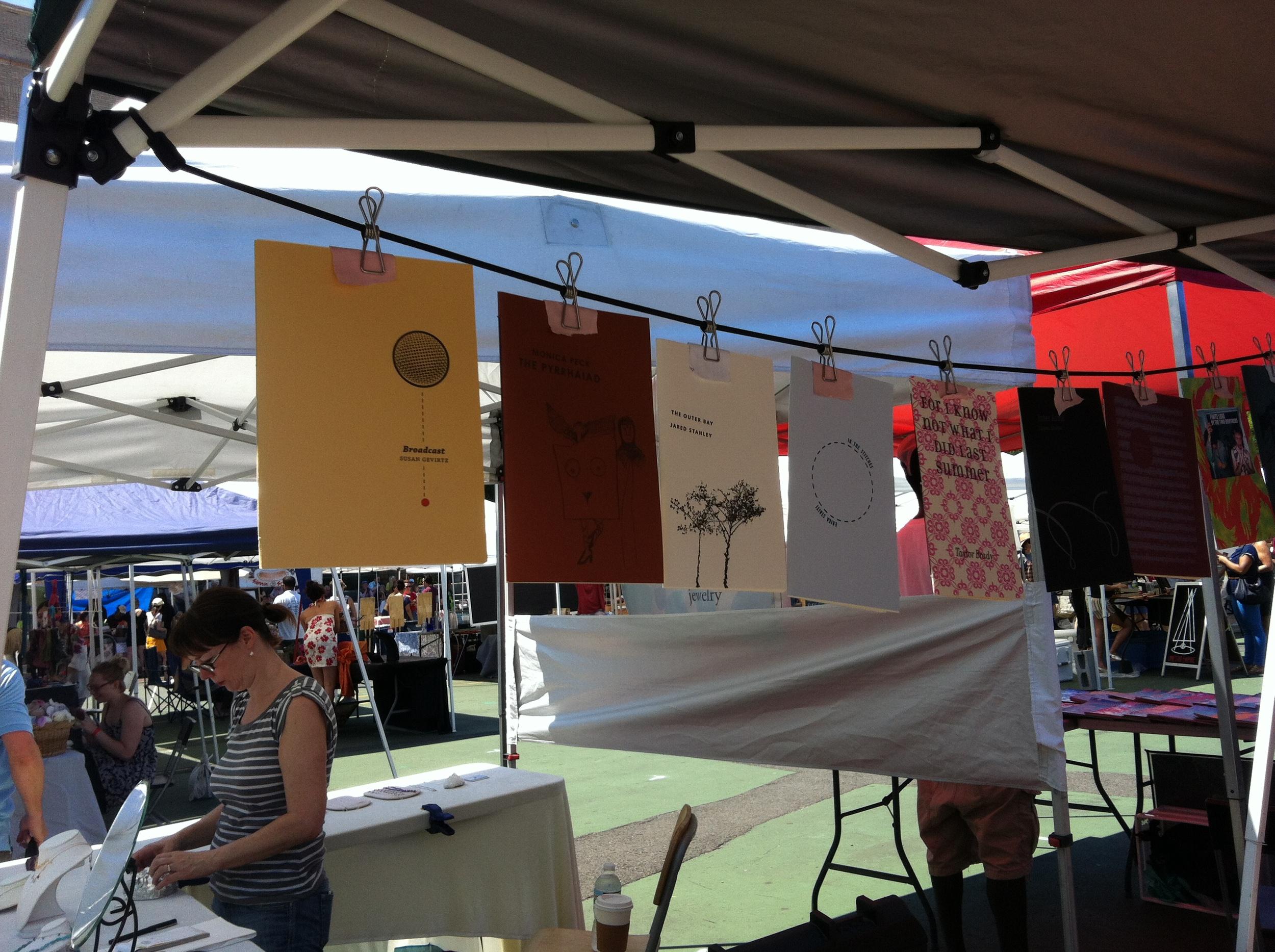 A display of beautiful handprinted chapbooks by Erin Morrill of Trafficker Press