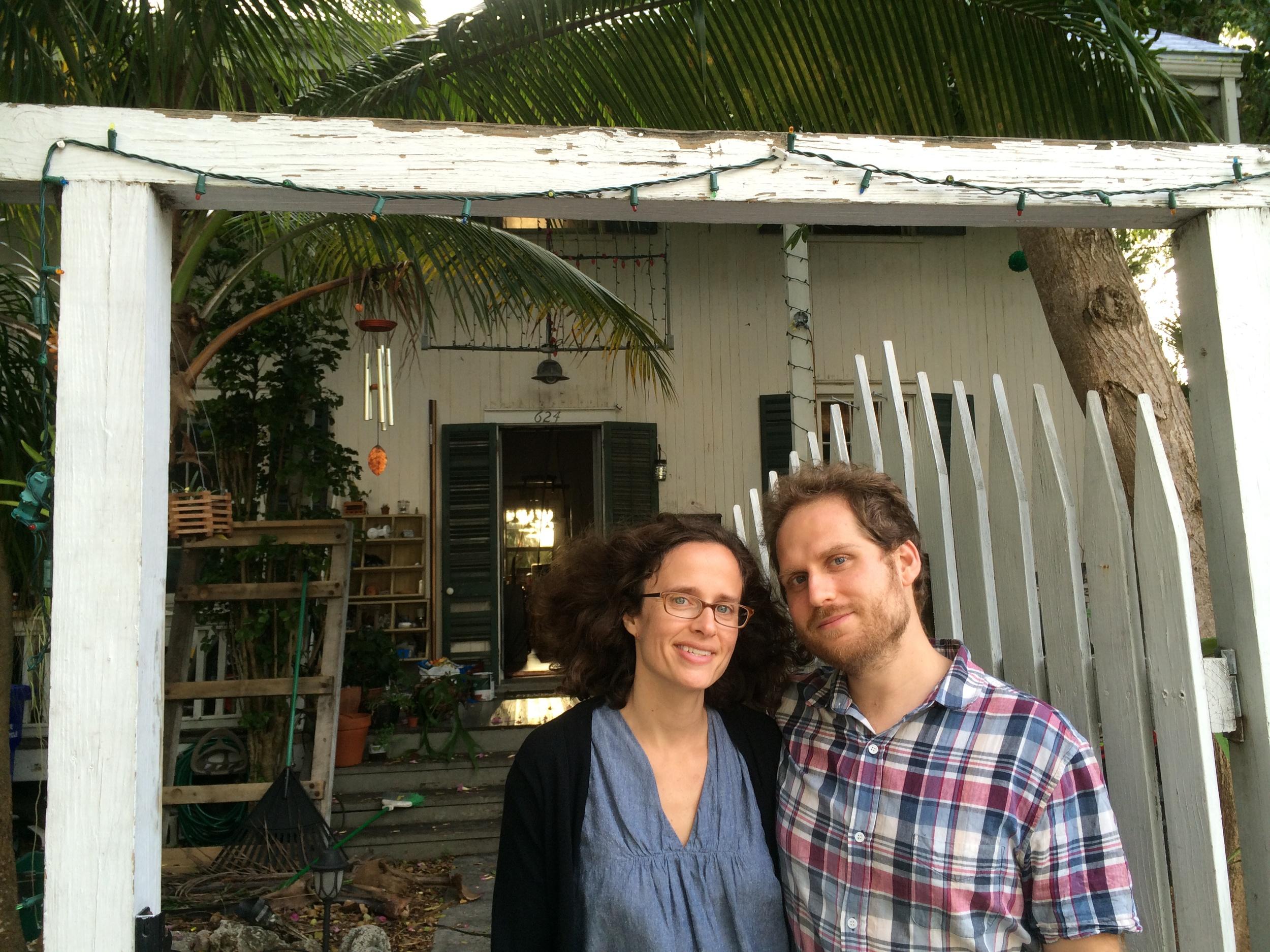 Jared and Farrah in front of Elizabeth Bishop's home in Key West, Florida