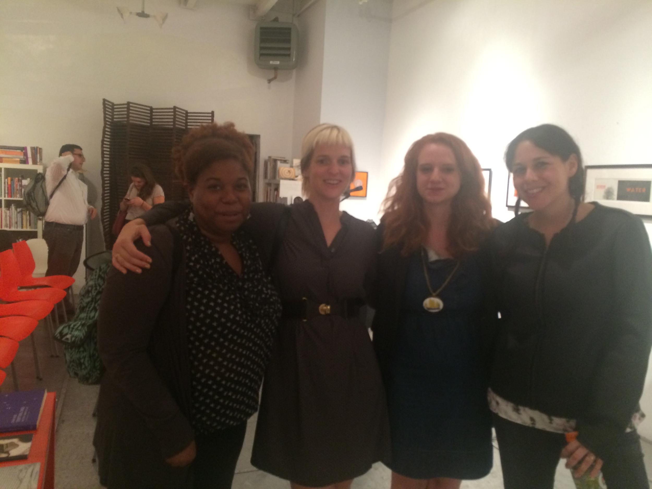 The readers pose alongside poet Lauren Hunter.