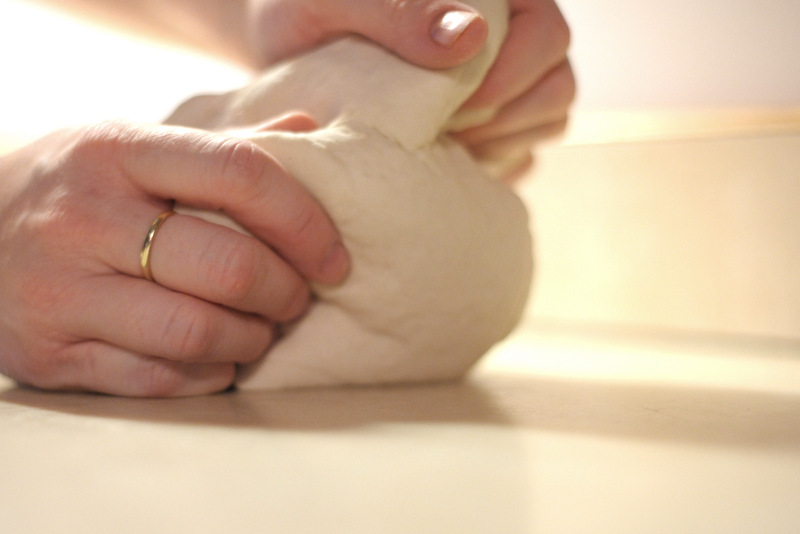 Once your dough is formed, kneed the dough for a few minutes with your own hands. What a stress reliever! No joke!