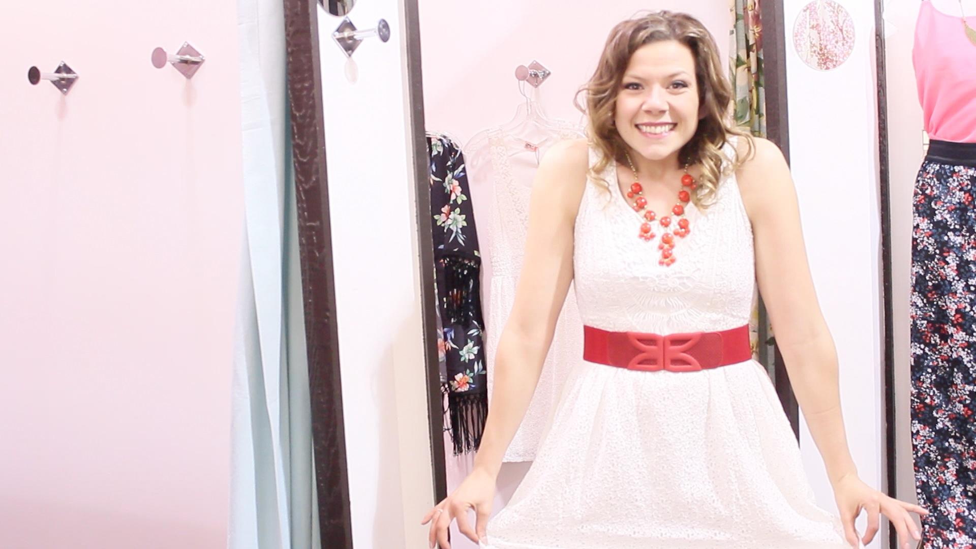 Alexis trying on a Farminista dress  Photo: Emilie Lebel