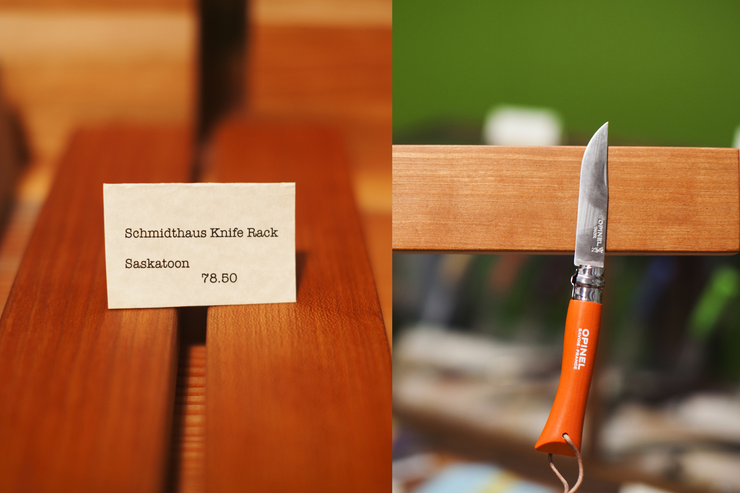Magnetic knife rack and a selection of knives available at Tamarak General Store