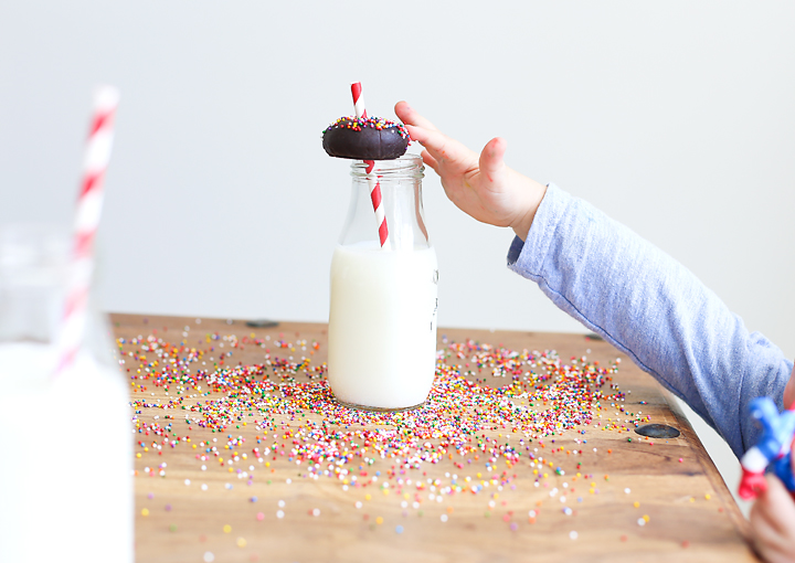 My little helper couldn't wait for me to photograph the finished product. The sprinkles were much too tempting.