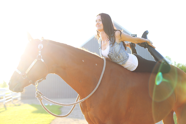Riding bareback and in dhanursana (bow)