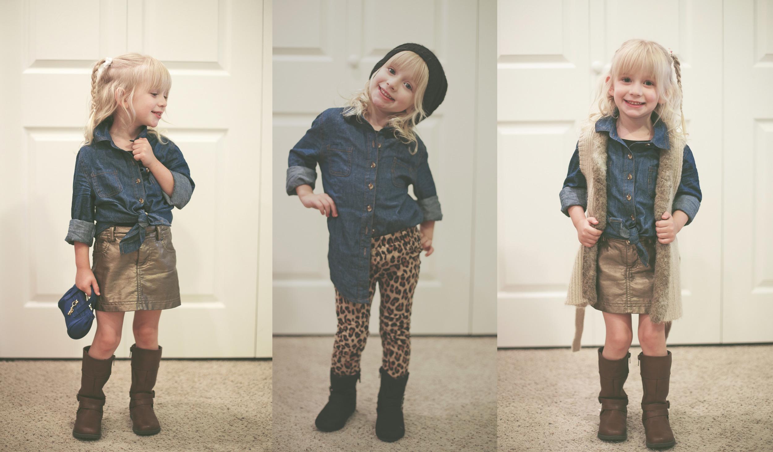 Gold Pleather Skirt & Boots - Joe Fresh    //    Cheetah Pants - Baby Gap     //     Sweater Vest - H&M