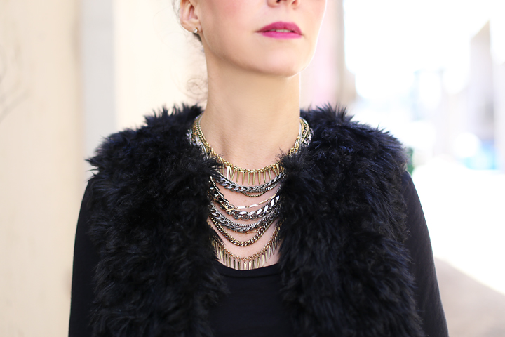 Cori wears a beautiful Jenny Bird necklace and Michael Michael Kors necklace