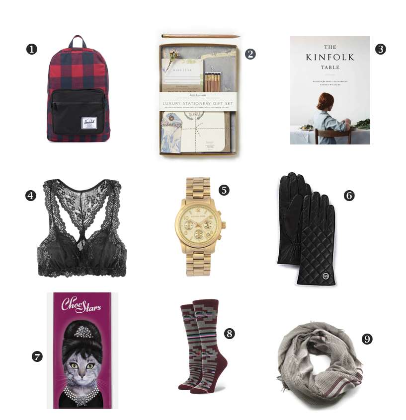 1. Herschel Supply backpack  Banjo Outpost  2. Katie Leamon Luxury Stationary  Soul Paper  3. Kinfolk  Luna & Hill  4. Eberjey lace racerback  Olson + Burke  5. Michael Kors watch  Swank Shoe Lounge  6. Michael Kors quilted leather gloves  Olson + Burke  7. ChocStars premium chocolate  Blossoms Living  8. Stance socks  Momentum Clothing & Equipment  9. Scarf  Tonic