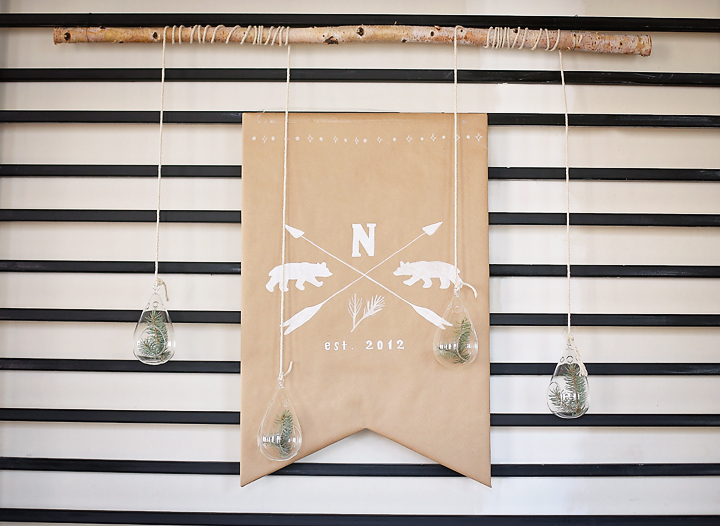 Simple decorations were constructed out of kraft paper, chalk and branches.