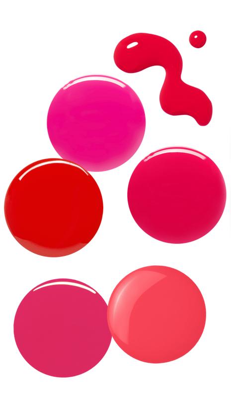 (L-R) Essie - Collide, Eve Snow - Belle de Jour, Yves Saint Laurent, Eve Snow - Kiss Me Quick, RGB - Pink, Essie - Peach Daiquri