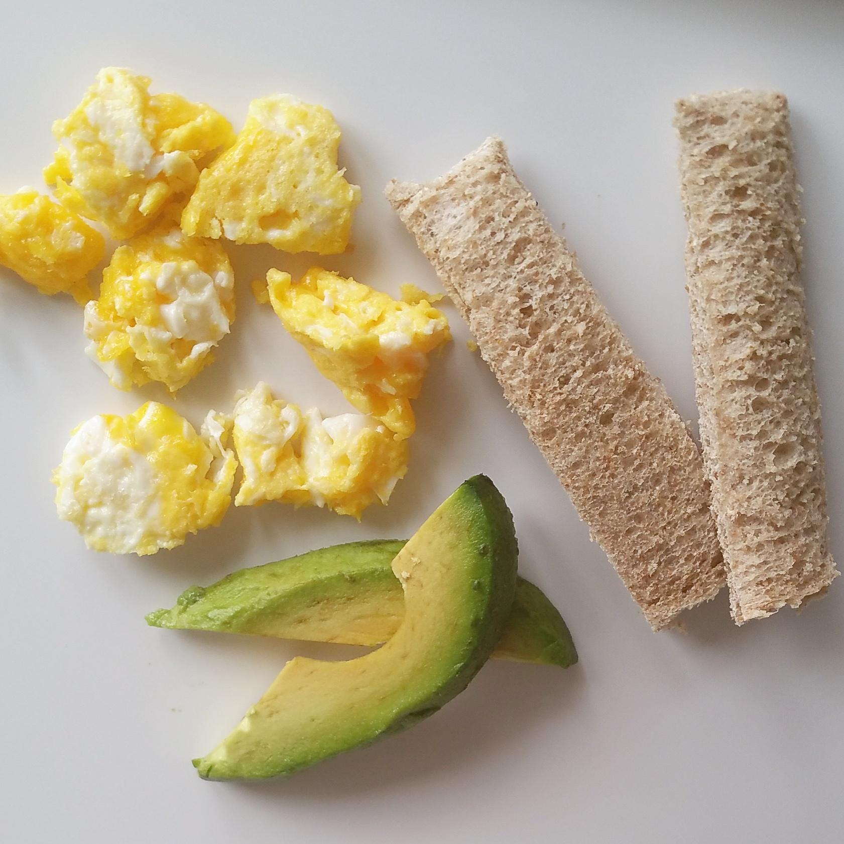 egg yolk, avocado, sprouted grain bread