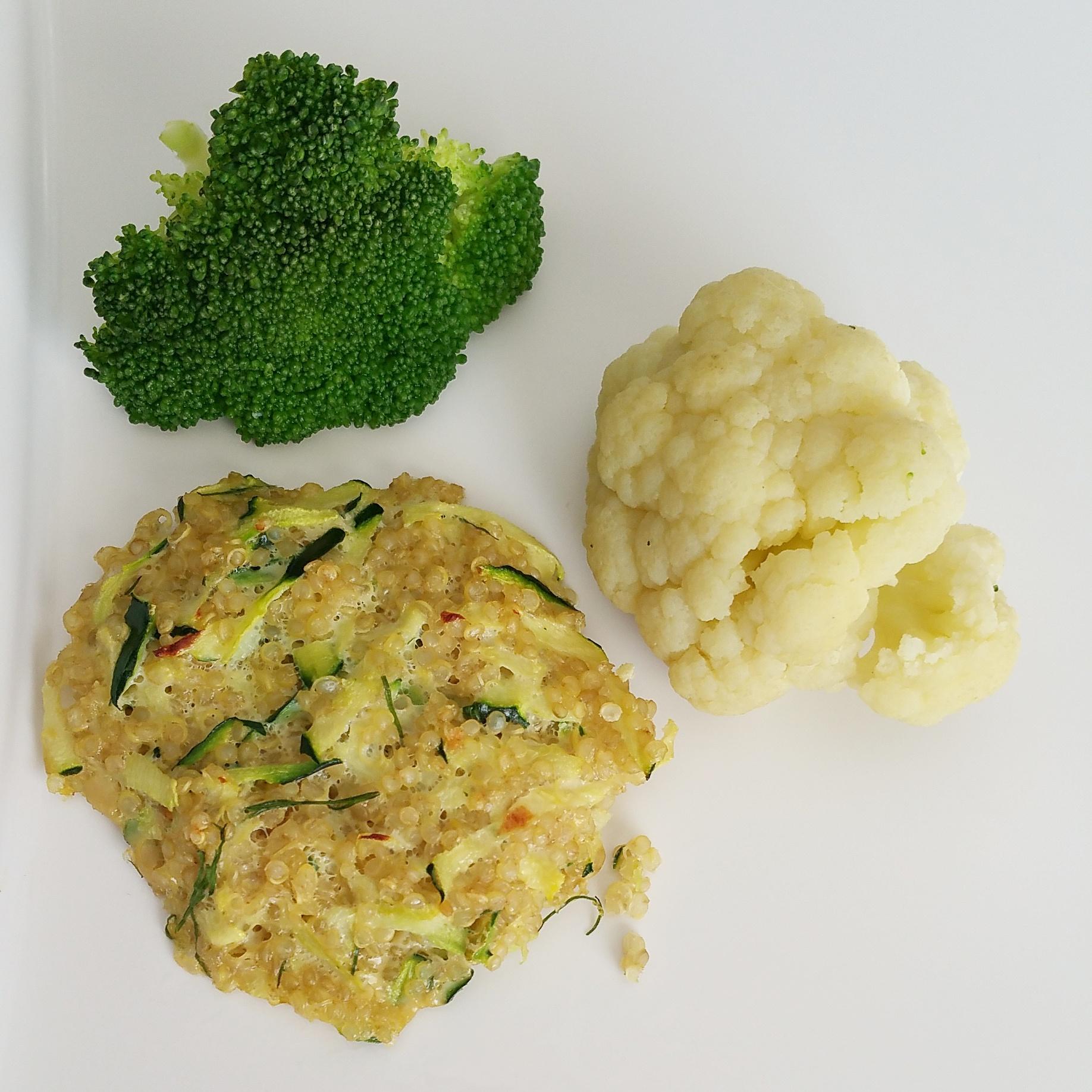 quinoa and zucchini fritter,broccoli, cauliflower