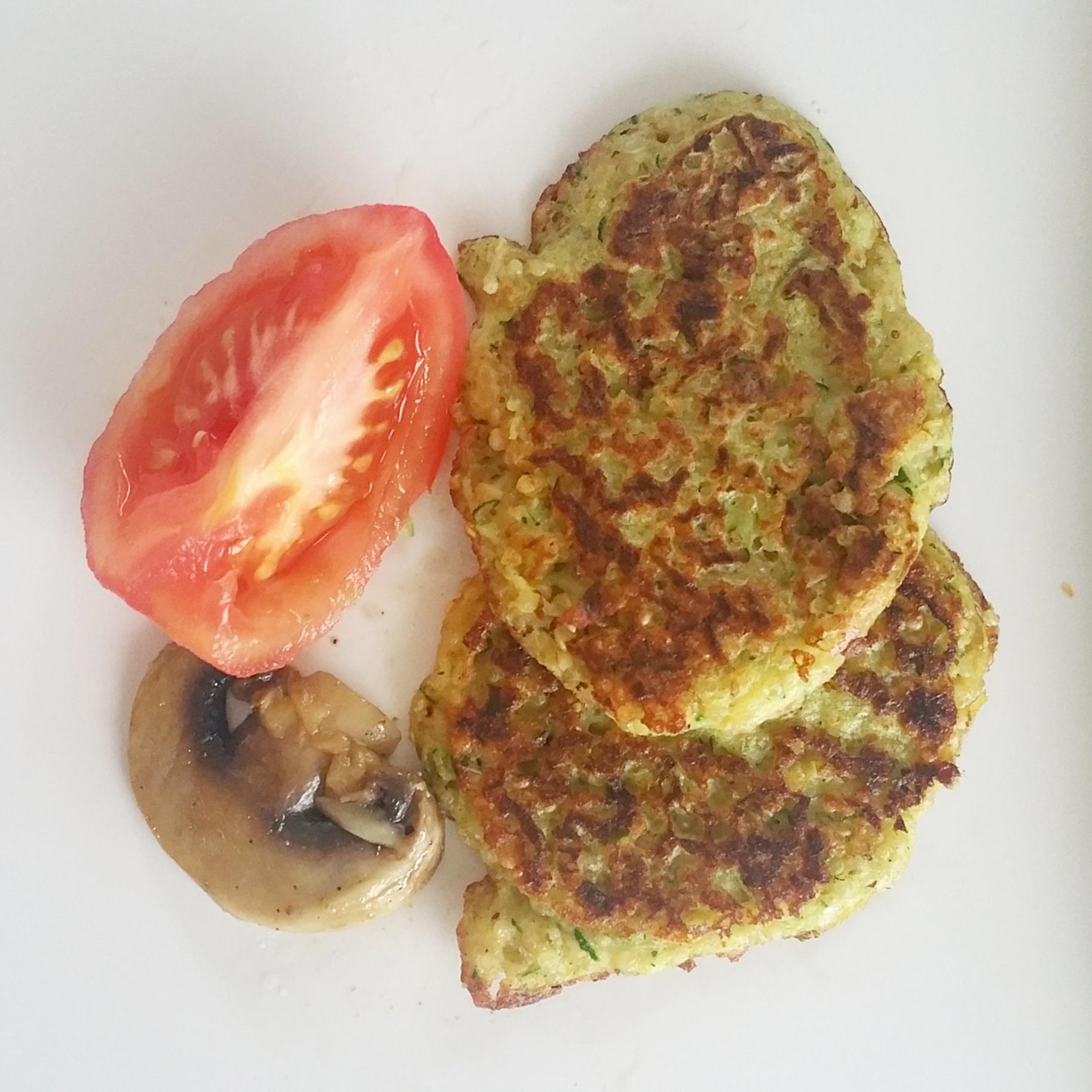 quinoa and chana flower fritters, mushroom, skinned tomato