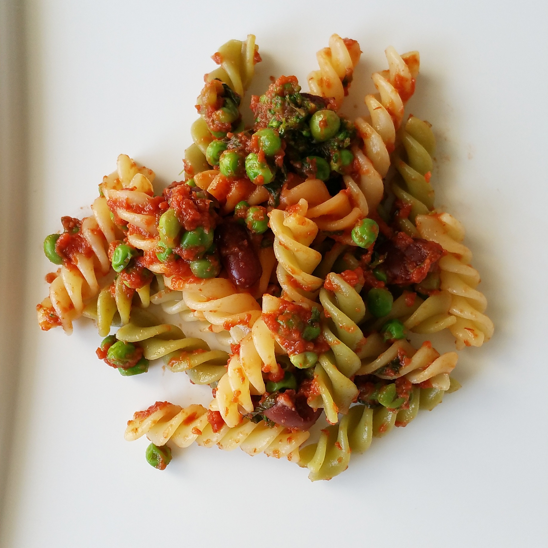 fusilli with beans, peas, and sauce
