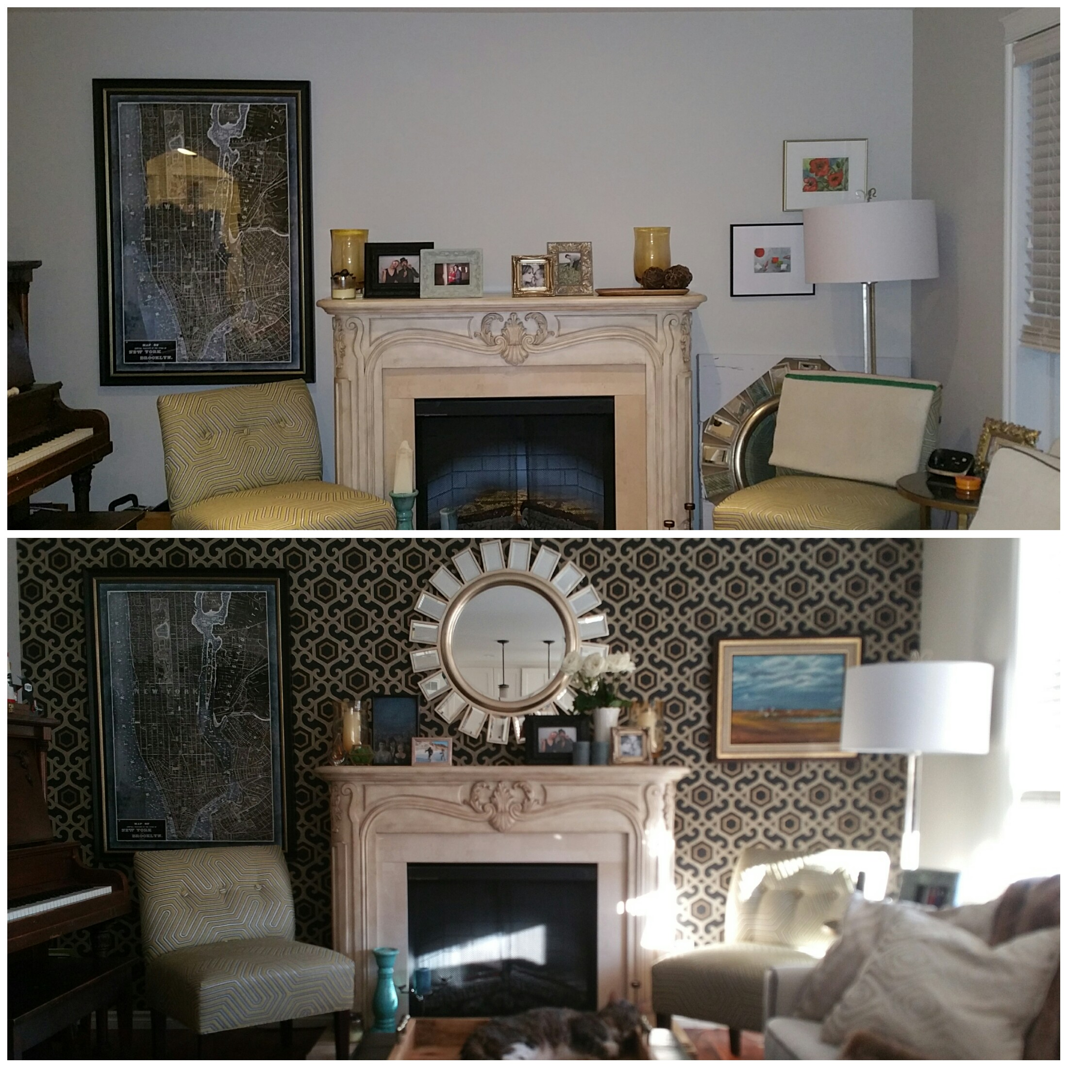 before and after living room decor makeover