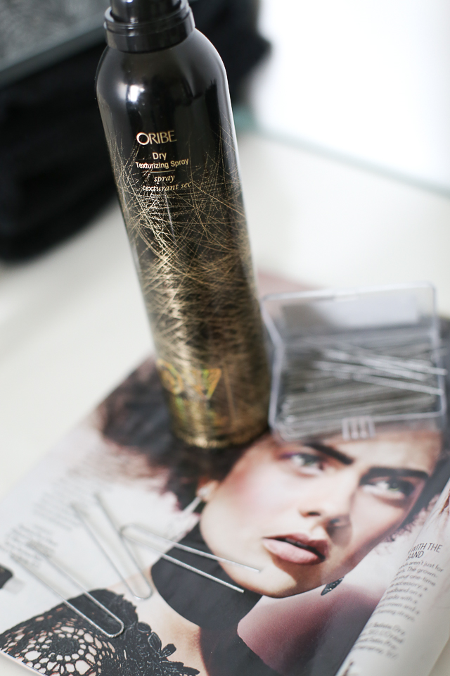 A few of the hair tools used today include some dry texture spray from Oribe.  Got to have it?  Capelli Salon Studio carries the whole line.  They are stunning beautiful products. Kassy twisted the hair up in these large U pins to give it some wild texture.
