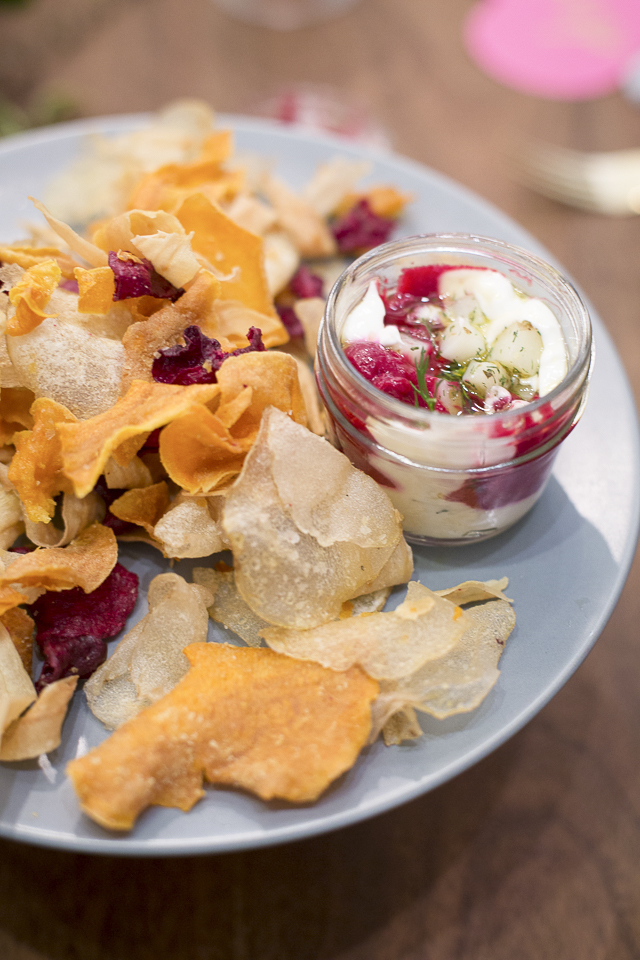 "Delicious and colourful ""Borscht"" chips & dip by our friends at  Ayden Kitchen & Bar .  We inhaled  these in minutes - they were that good."