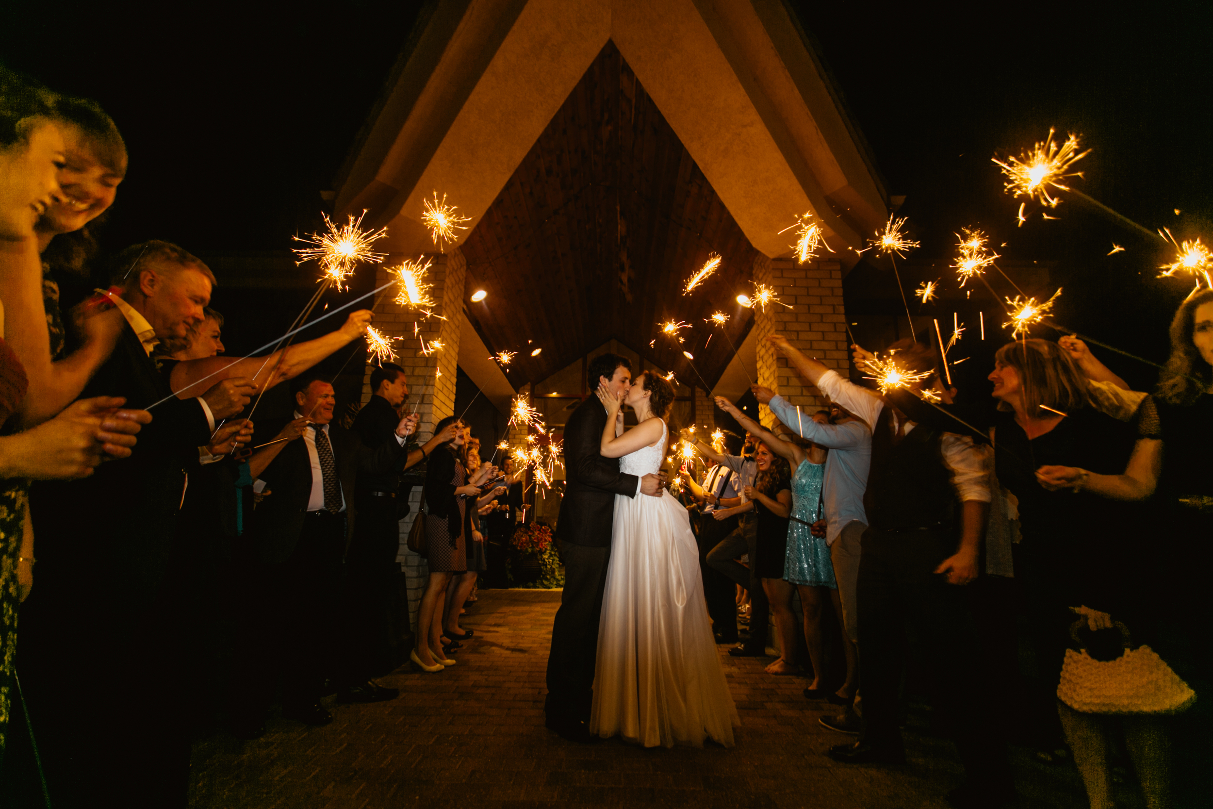Cara & Gavin used sparklers for their send off. Another very inexpensive way to use lighting to your special event!