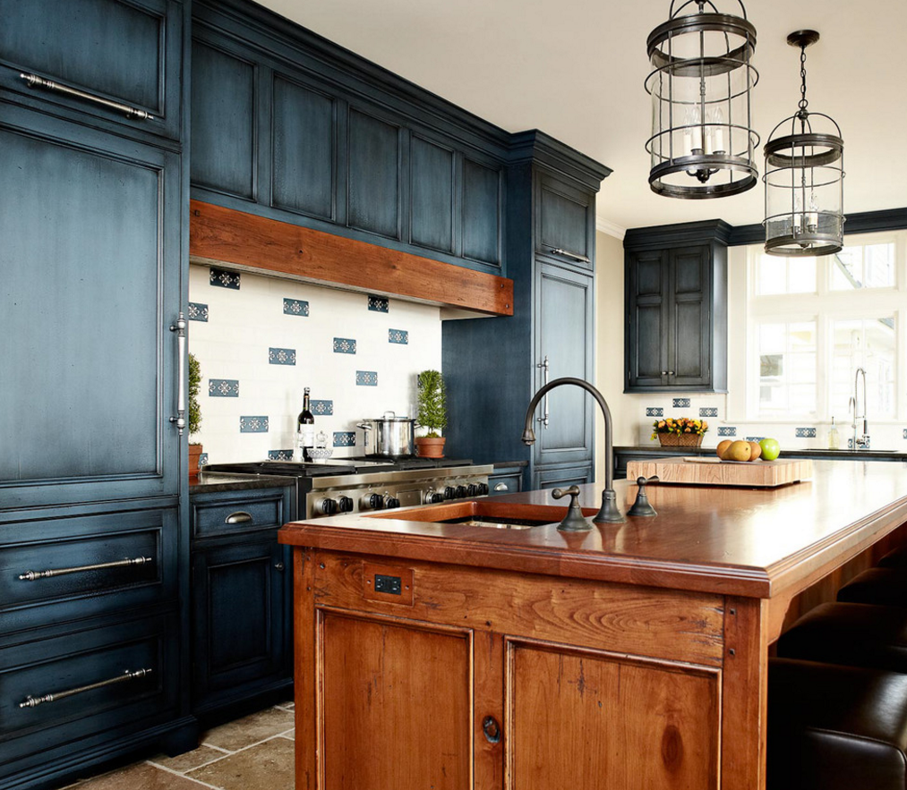 The look of denim may not carry out in the literal sense in your home, but these kitchens are a cool example using the fabric as inspiration for color in your space. The distressed, glazed finish adds an extra level of a realistic jean look and feel.