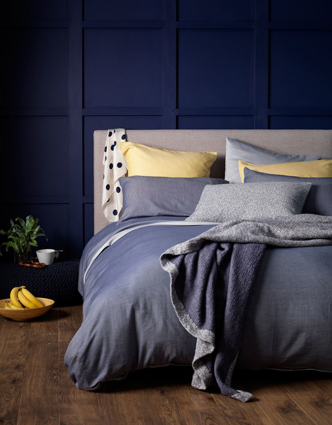 Don't want to commit to a large denim inspired investment in your space? Bedding and pillows are the perfect way to pull in he look without making a long term commitment. We love the pop of yellow against the denim bedding.