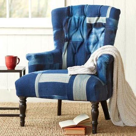 This denim patchwork chair adds a casual twist to a space. Pair with neutral and natural materials to make the piece truly really stand out among the rest!