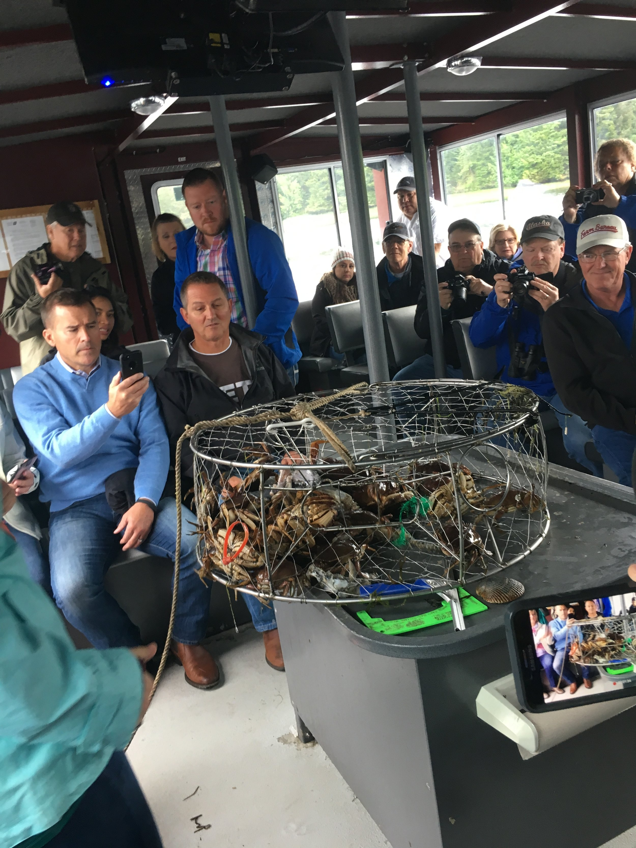 Learning about crabs on a catamaran off the coast of Ketchican.
