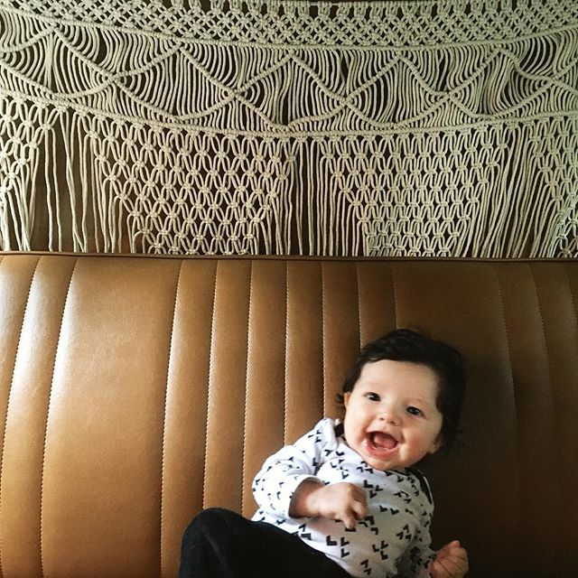 Baby James testing out some new backdrop options with us. He's digging the macrame. 😜 #babyboothboss #vwbus