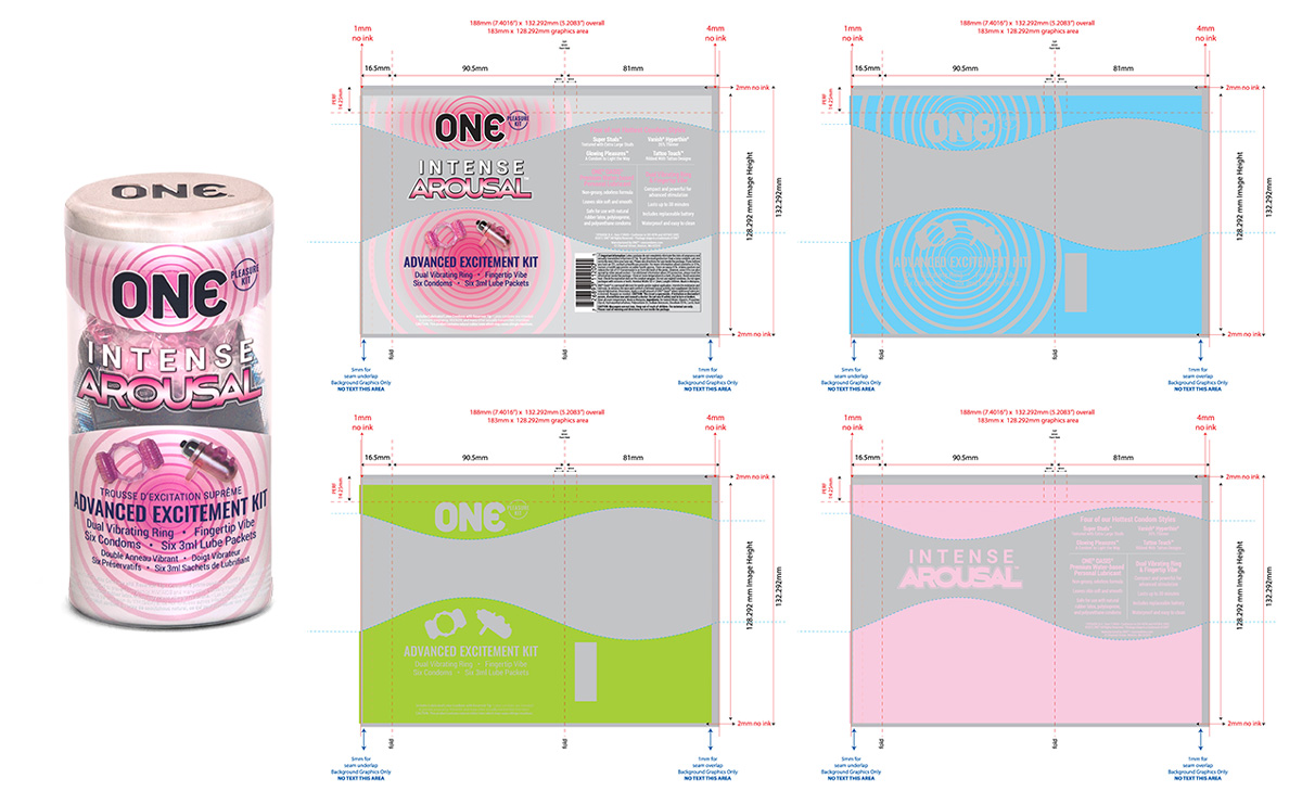 Separations for the ONE® Intense Arousal Pleasure Kit. Showing spot cmyk, spot matte, and base white layers.