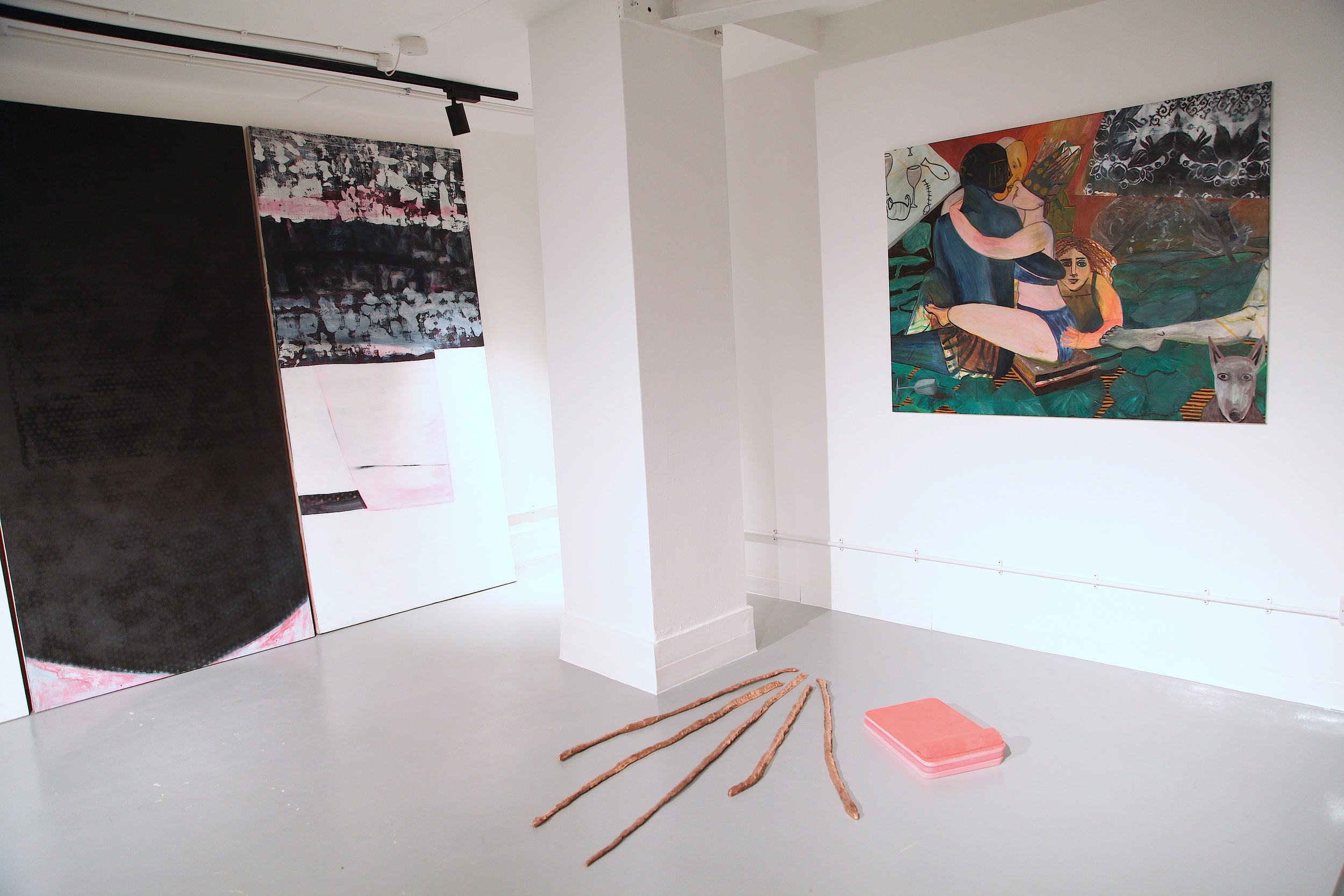 'Pandiculate: The Joy of Stretching' artists Katie Hayward, Sarah Roberts and Harriet Poznanksy. Curated by Gabriella Sonabend and Hannah Thorne.