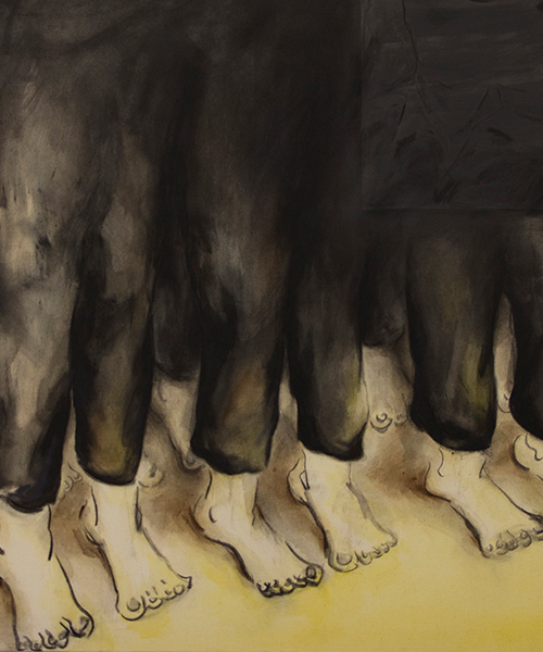 'Refuse : Refuge : Re-fuse' group exhibition.Curated by Gabriella Sonabend. Image: Painting by Yvonne Feng.