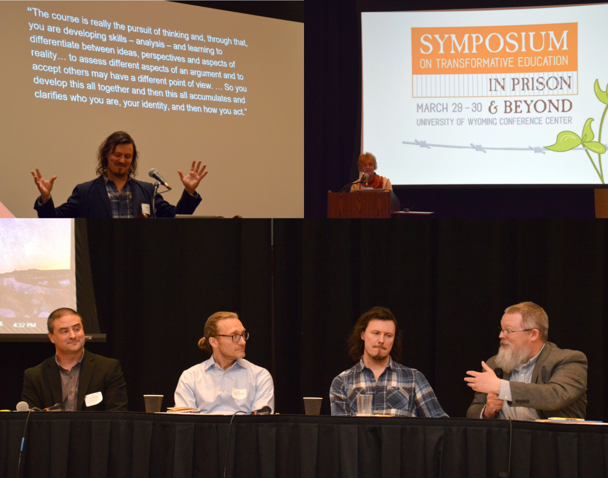 The Symposium's Panel Discussion on Philosophy in Prison, Featuring (from left) Alan Muthig (Wyoming & Pathways From Prison), Damon Horowitz (NYU, Stanford & The San Quentin Prison University Project), Ben Walker (UEA & The Crito Project) and Rob Colter (Wyoming & Pathways From Prison).