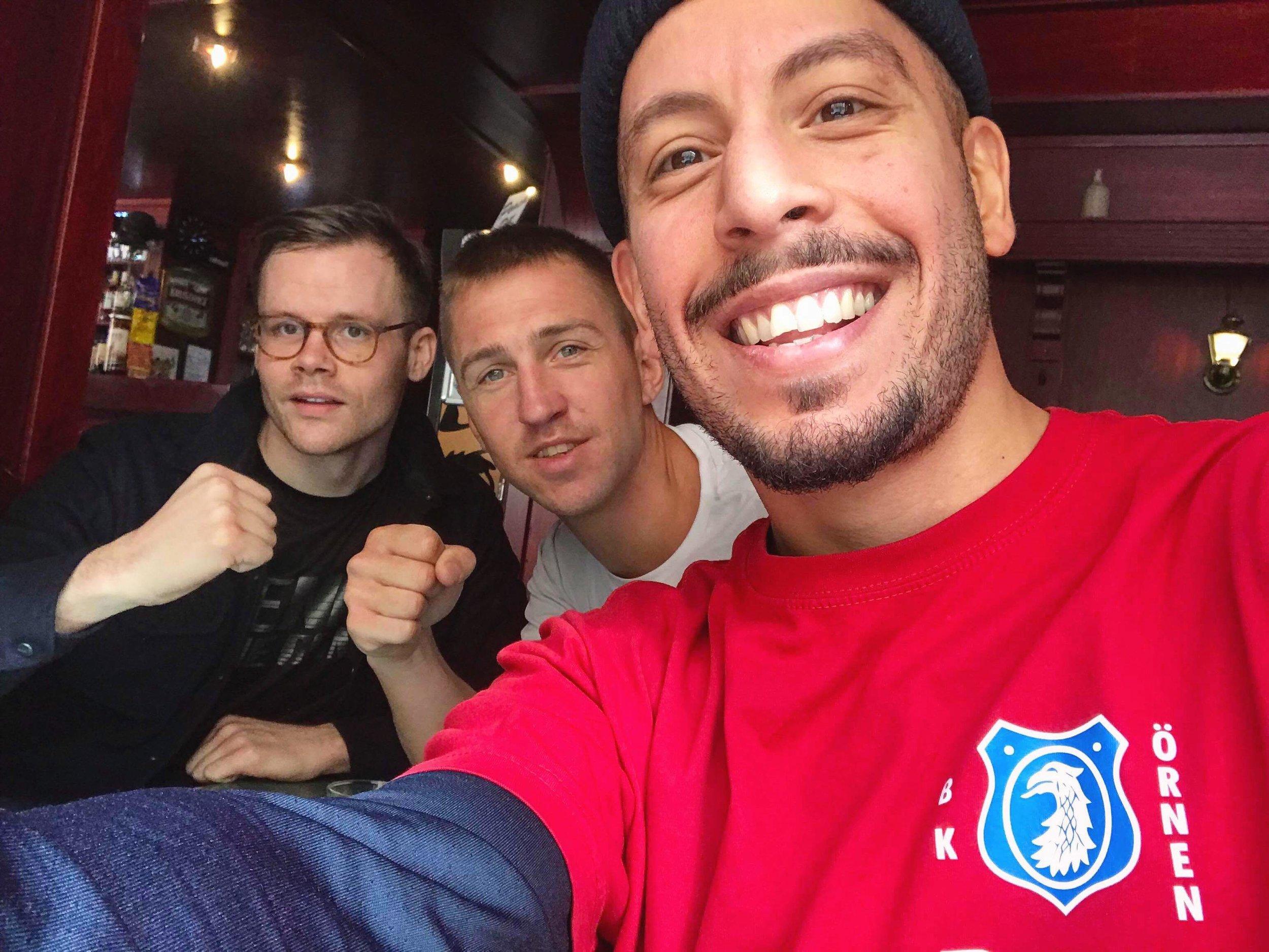Fredrik Lindblåsom är motionstränare och styrelseledarmot, Gustav Tell som är tränare för matchgruppen och Rougén Heidari som är motionstränare.