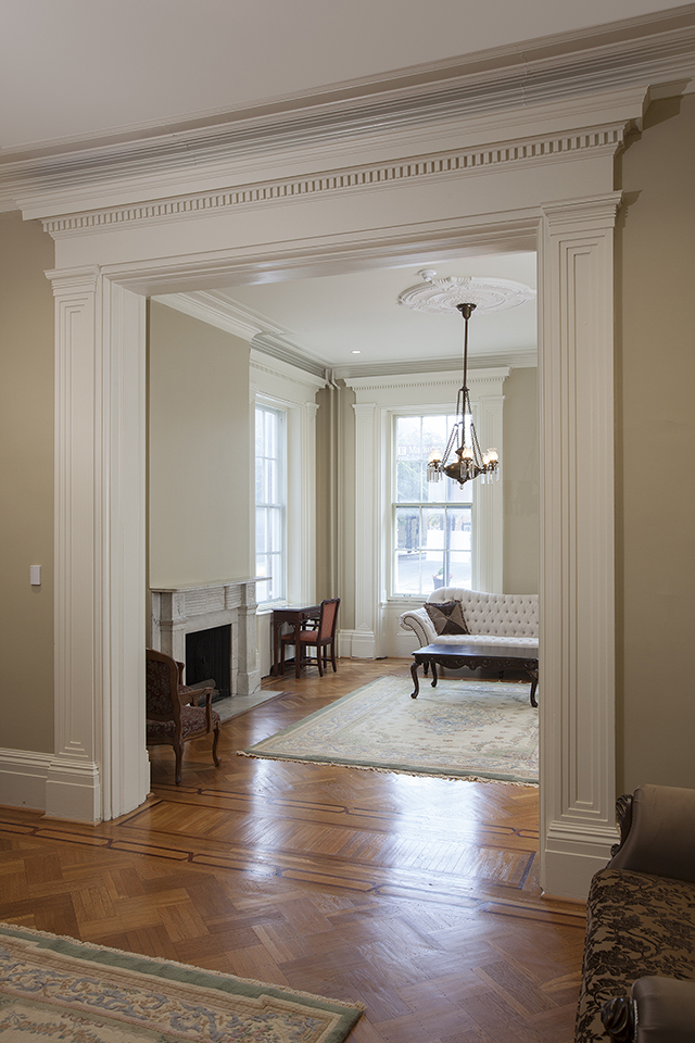 Front Hallway and Parlor rooms, restored