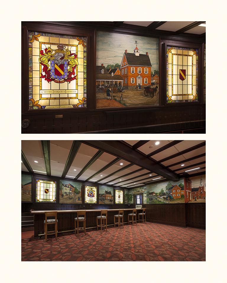 Tavern Stained Glass and Millwork Murals, restored