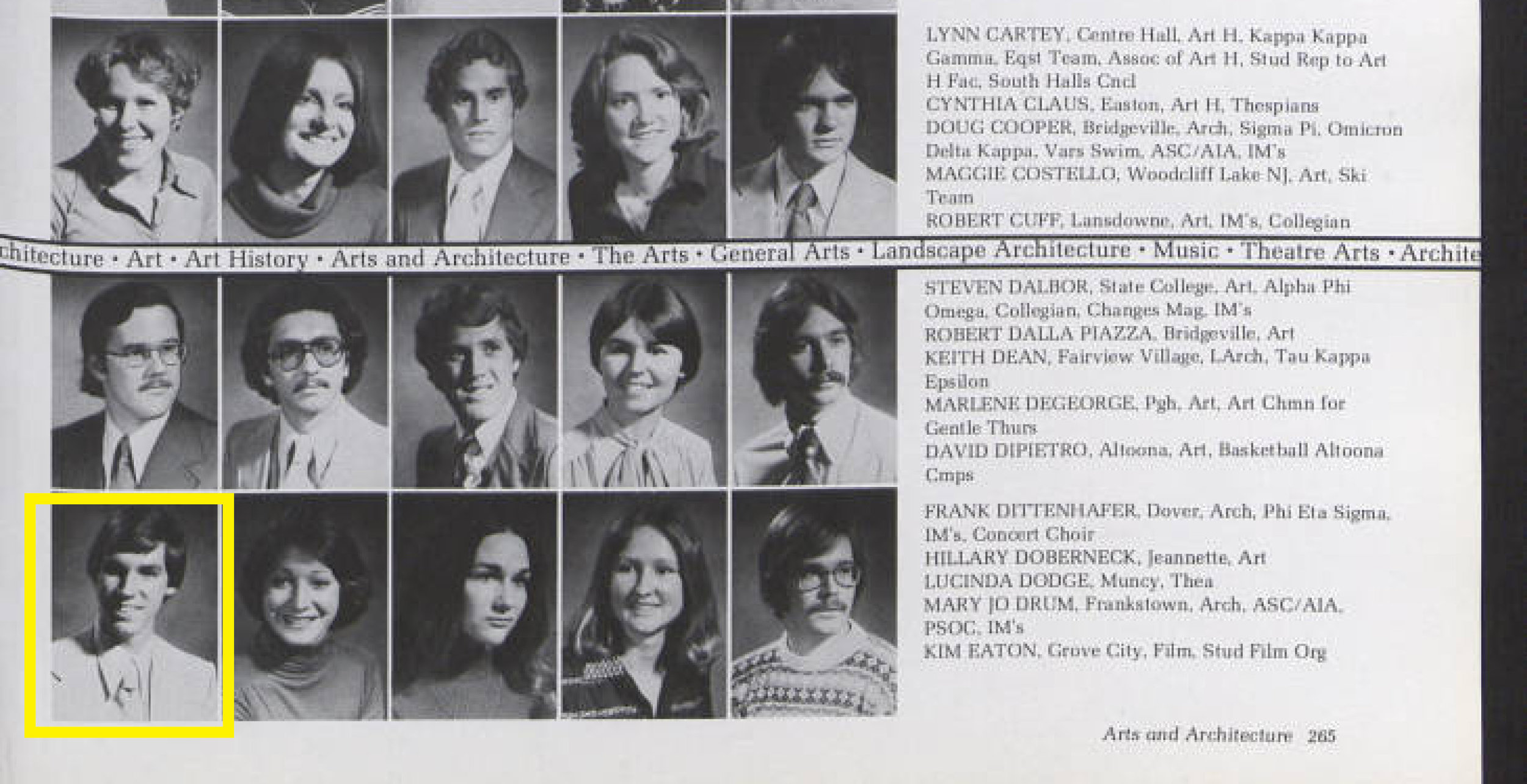 Dittenhafer graduated from Penn State with honors and a bachelor's degree in Architecture in 1978. (   Photo from Penn State's La Vie Yearbook   )