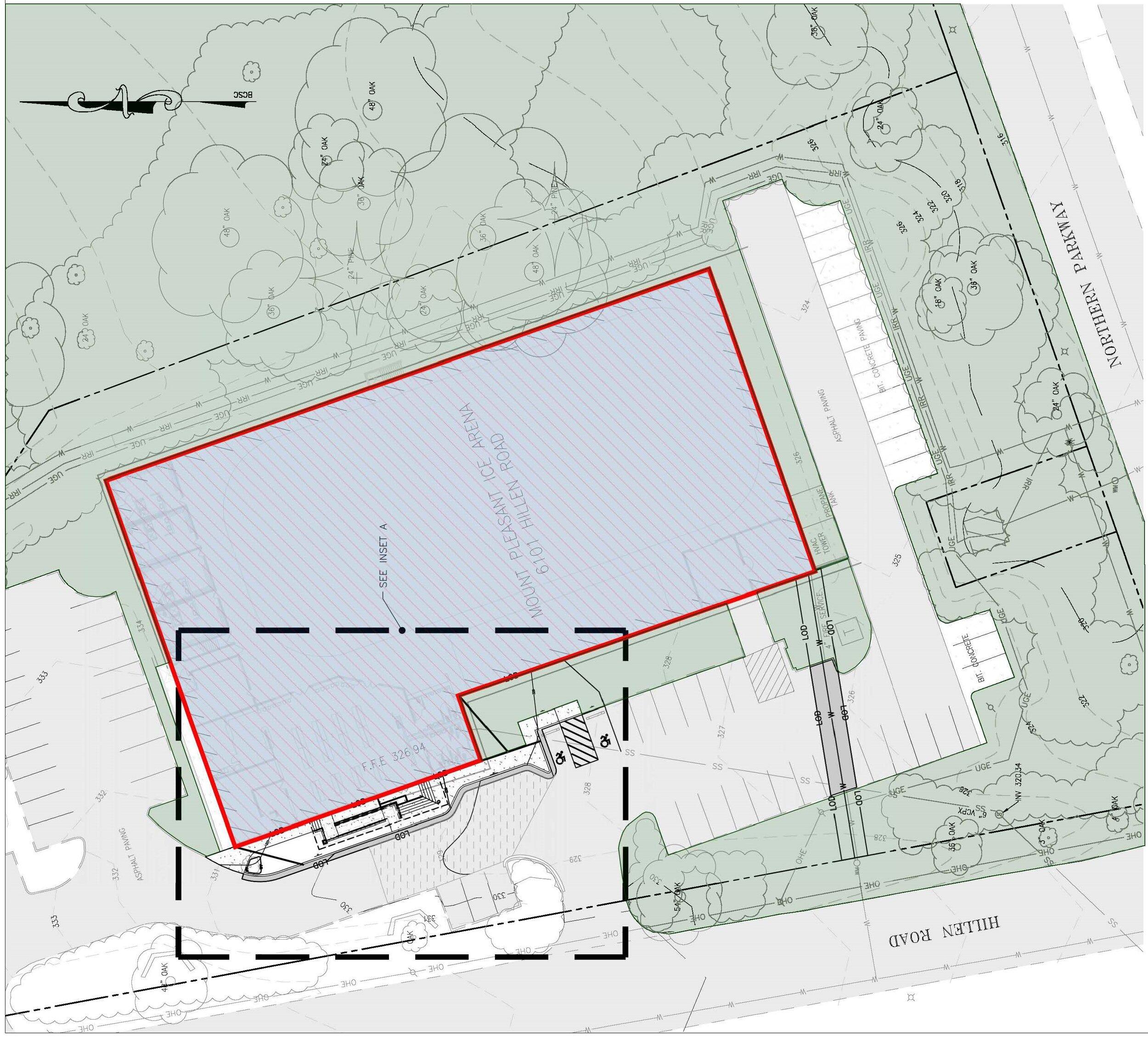 BCRP Mt. Pleasant Ice Arena Site (above) and floor plan (below)