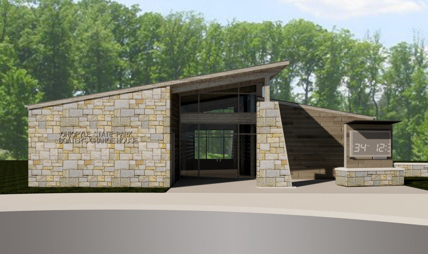 Ohiopyle Boater's Change House Exterior Rendering