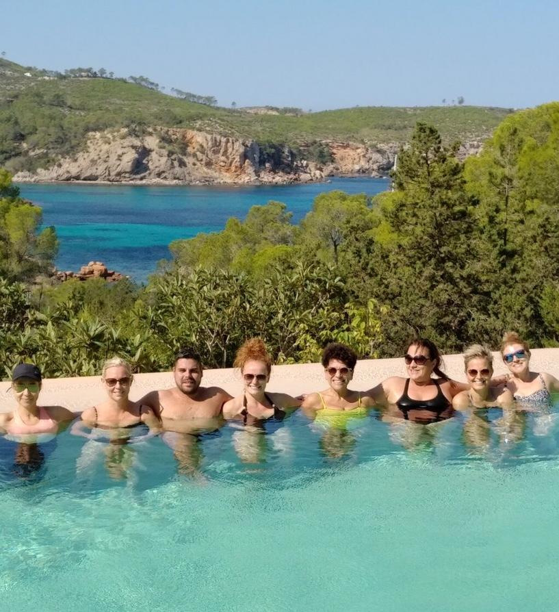 Santhosh retreat clients enjoying pool