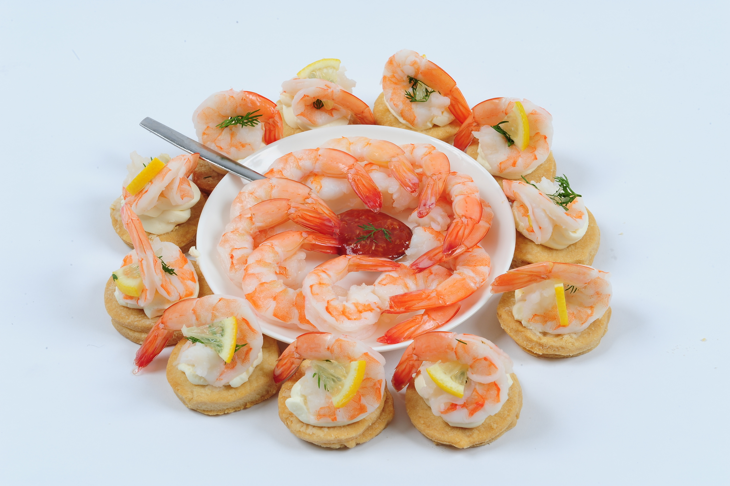 Classic Shrimp Cocktail on soft butter biscuits