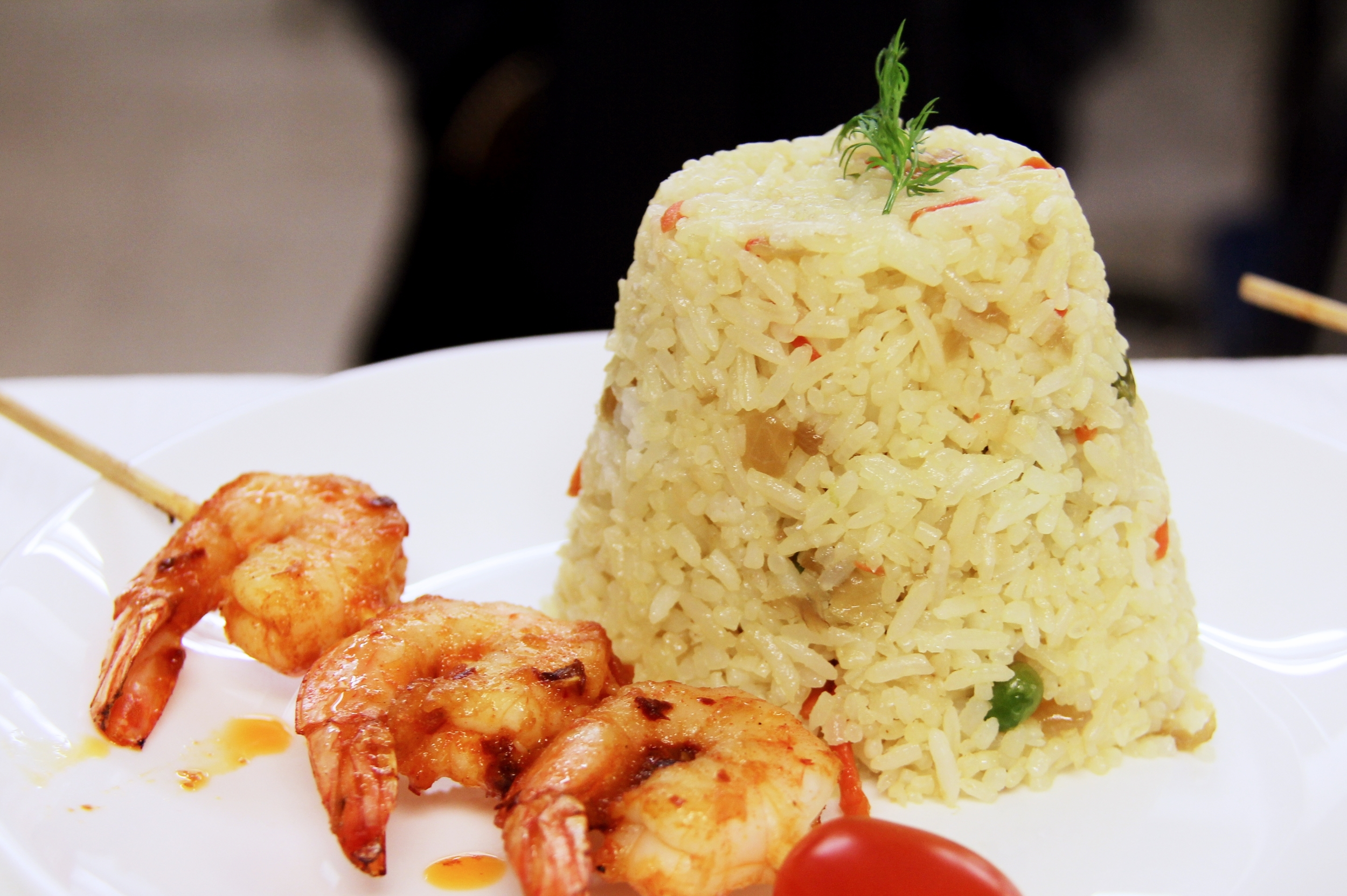 Scented Fried Rice with peppered Shrimp Kebabs